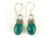 Oval shaped earrings with turquoise