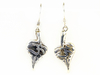 Leaf shaped earrings with OM design