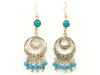 Round shaped earrings embedded with turquoise