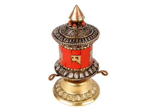 Prayer wheel with bronze and coral (small size)
