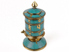 Bronze prayer wheel with turquoise.
