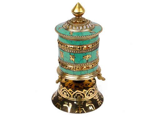 Bronze prayer wheel with turquoise (large size).