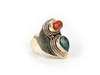 Coral turquoise silver ring