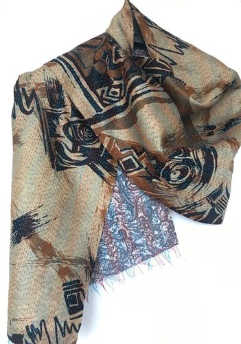 kanta silk scarf hand stiched.