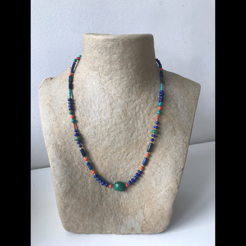 Lapislazuli, coral and turquoise neclace