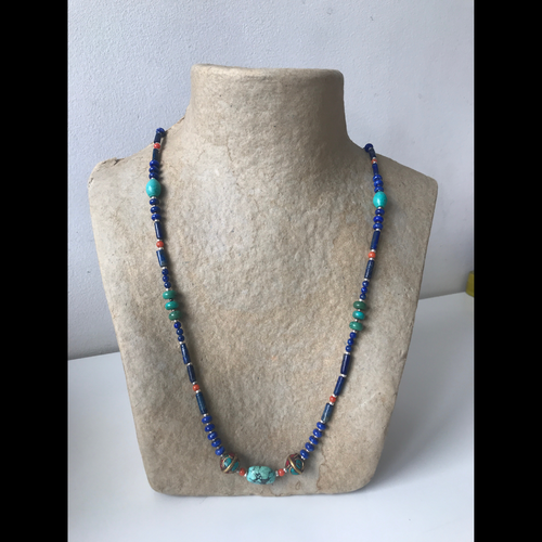 Lapislazuli, coral and turquoise long neclace